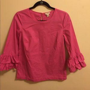 J. crew pink ruffle blouse